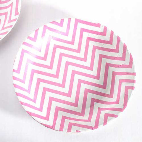 Chevron Light Pink Pack of 12 Premium Round Plates