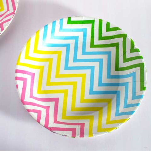 Chevron Rainbow Pack of 12 Premium Round Plates