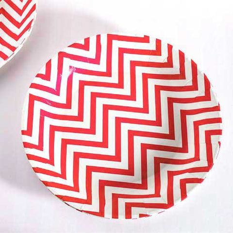 Chevron Red Pack of 12 Premium Round Plates