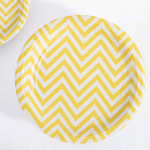 Chevron Yellow Pack of 12 Premium Round Plates (23cm)