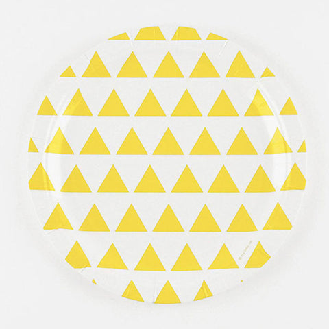 Pack of 8 Sunny Yellow Triangles Print Pattern Party Plates (23cm)