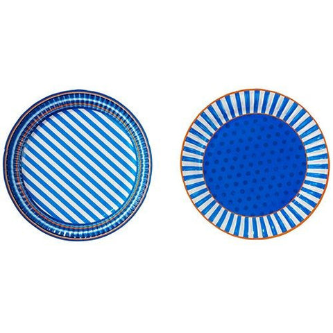 Cool Blue Pack of 8 Party Plates (18cm)