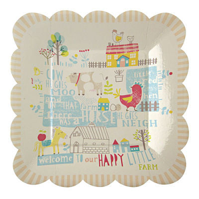 Happy Little Farm Pack of 12 Square Party Plates with Scallop Edge (20cm)