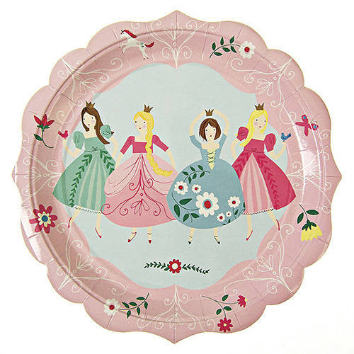 I'm a Princess Pack of 12 Party Plates Adorned with Floral Patterns & Scallop Edge (23cm)