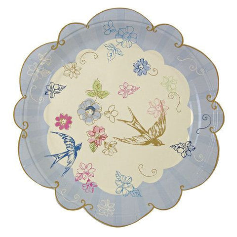 Love in the Afternoon Vintage Romantic Swallows Pack of 12 Tea Party Plates (18cm)
