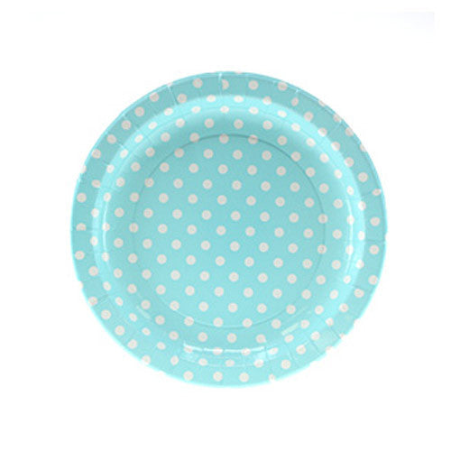 Polka Dots Baby Blue Pack of 12 Premium Party Plates (23cm)
