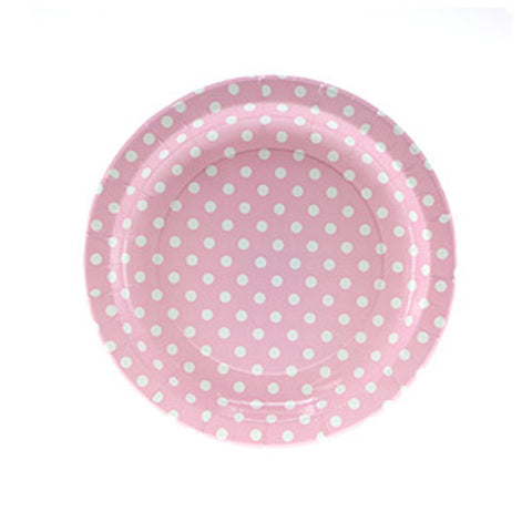 Polka Dots Baby Pink Pack of 12 Premium Party Plates (23cm)