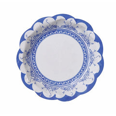 Porcelain Blue Pack of 12 Party Scallop Plates in 3 Elegant Designs (17cm)