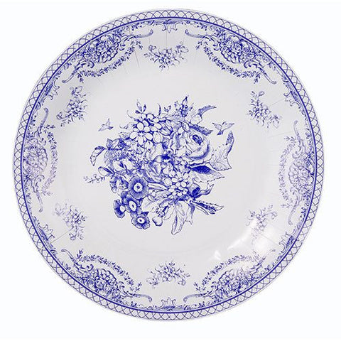 Porcelain Blue Pack of 8 Large Party Plates in 2 Elegant Designs (27cm)