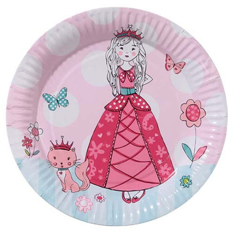 Princess & Kitty Pack of 8 Party Plates (18cm)
