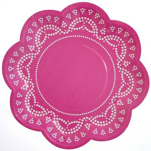 Scallop Lace Hot Pink Pack of 10 Party Plates (20cm)