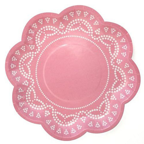 Scallop Lace Light Pink Pack of 10 Party Plates (20cm)