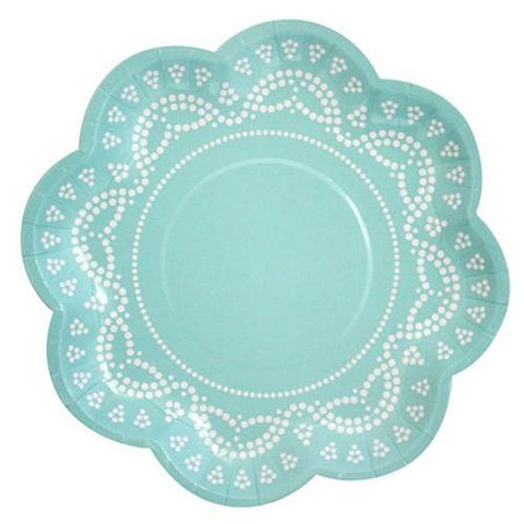 Scallop Lace Tiffany Aqua Mint Blue Pack of 10 Party Plates (20cm)