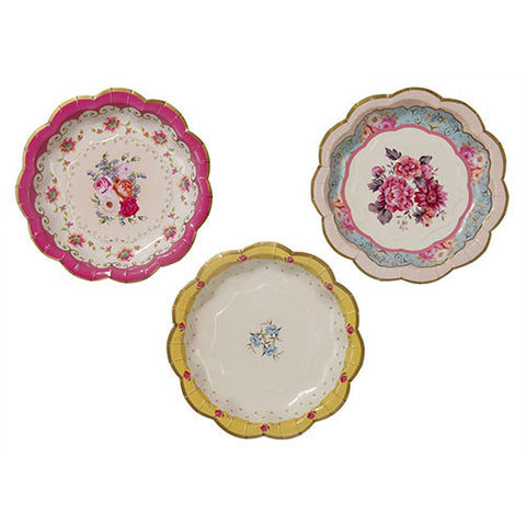Truly Scrumptious Vintage Dainty Pack of 12 Party Plates (18cm)