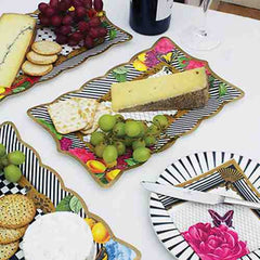 Social Soiree Pack of 6 Delectable Party Platter Plates in 3 Dishy Designs (22cm)