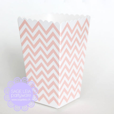 Set of 12 Light Blush Pink Chevron Mini Popcorn Treat Boxes