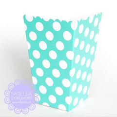Set of 12 Aqua Mint Polka Dots Mini Popcorn Treat Boxes