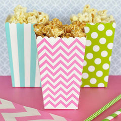 Set of 12 Aqua Mint Chevron Mini Popcorn Treat Boxes