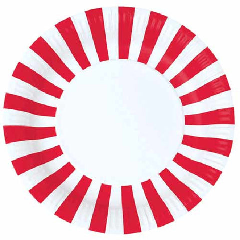 Candy Stripes Red Pack of 12 Premium Round Plates (23cm)