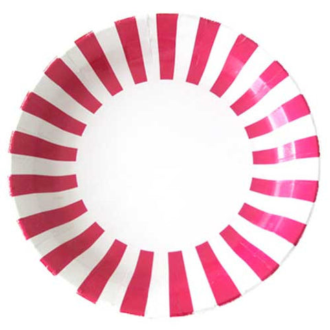 Candy Stripes Fuchsia Hot Pink Pack of 12 Premium Round Plates (23cm)
