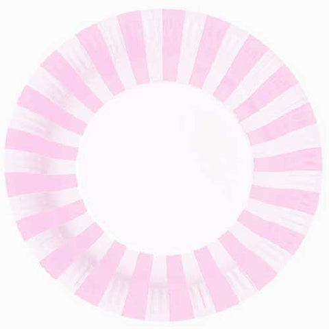 Candy Stripes Light Pink Pack of 12 Premium Round Plates (23cm)