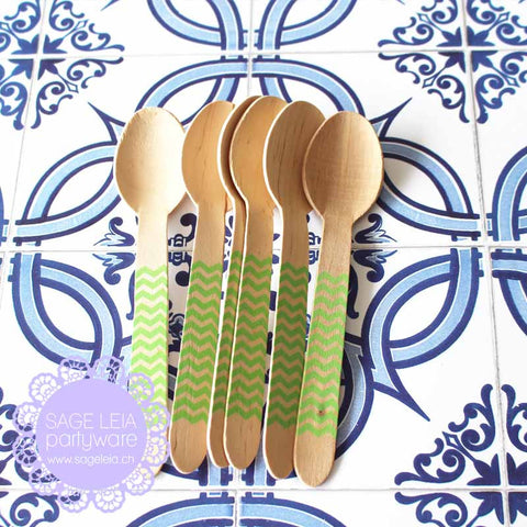 Set of 6 Chevron Green Wooden Cutlery Spoons