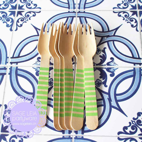 Set of 6 Candy Stripes Green Wooden Cutlery Forks