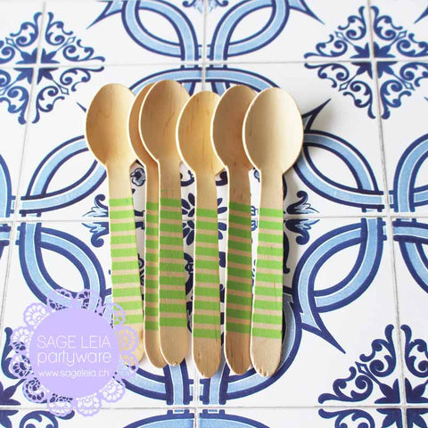 Set of 6 Candy Stripes Green Wooden Cutlery Spoons