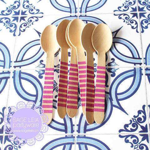 Set of 6 Candy Stripes Purple Wooden Cutlery Spoons