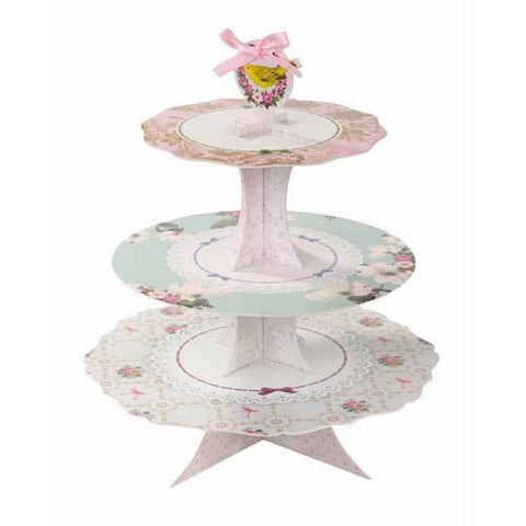 Frills & Frosting Shabby Chic Vintage Birds & Floral 3-tier Cupcake Stand