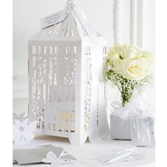 Something in the Air Stunning White Elegant Birdcage Message Postbox Table Centrepiece