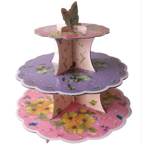 Vintage Shabby Chic Floral Garden Butterfly 3-tier Cupcake Stand