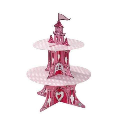 Princess & Kitty 2-tier Reversible Cupcake Stand with Flag Stickers
