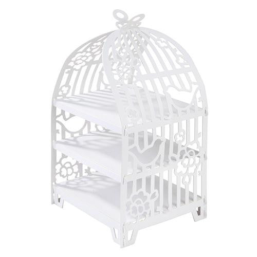 Something in the Air White Elegant Birdcage 3-tier Sandwich & Cupcake Stand