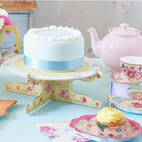 Truly Scrumptious Vintage Floral Single-tier Cupcake Stand with Reversible Designs