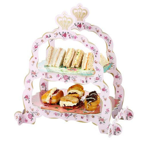 Truly Scrumptious Vintage Floral 2-tier Sandwich & Cupcake Stand