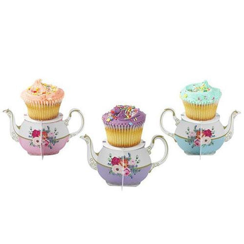 Truly Scrumptious Vintage Floral Pack of 6 Dainty Teapot Cupcake Stand