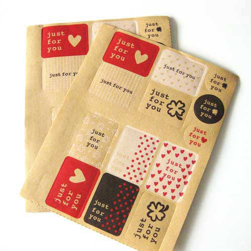 13 Retro Kraft Paper Just For You Sticker Labels