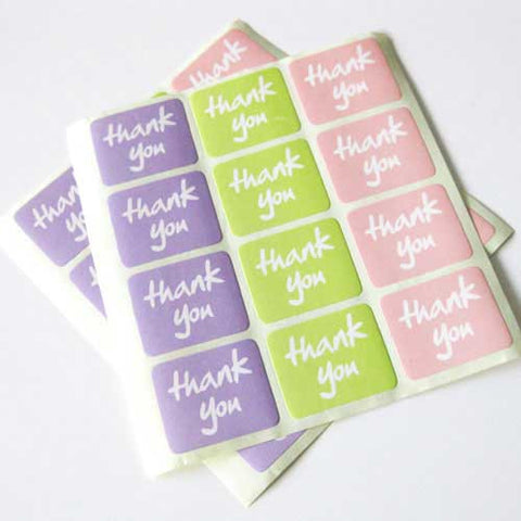12 Pastel Thank You Sticker Labels - Lavender Pink & Green