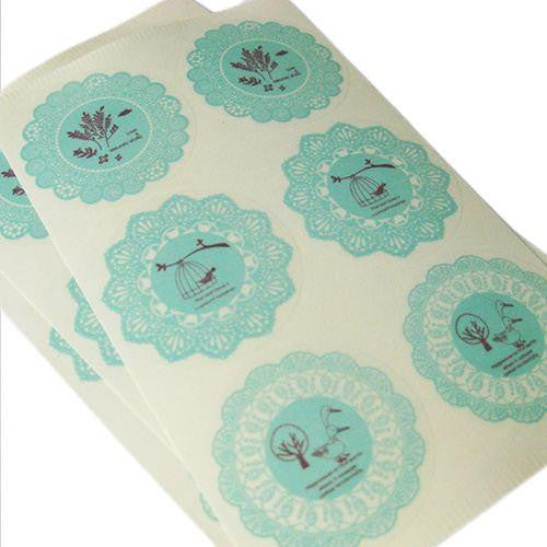 Pack of 12 Vintage Shabby Chic Mint Green Lace Doilies Sticker Labels in 3 Individual Designs