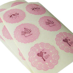 Pack of 12 Vintage Shabby Chic Pink  Lace Doilies Sticker Labels in 3 Individual Designs