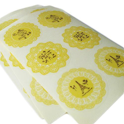 Pack of 12 Vintage Shabby Chic Yellow Lace Doilies Sticker Labels in 3 Individual Designs