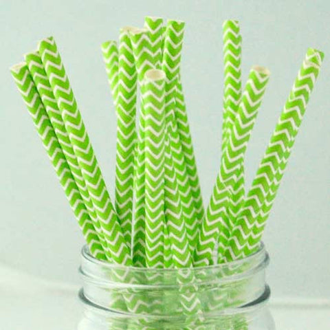 Pack of 25 Chevron Apple Green/White Party Straws
