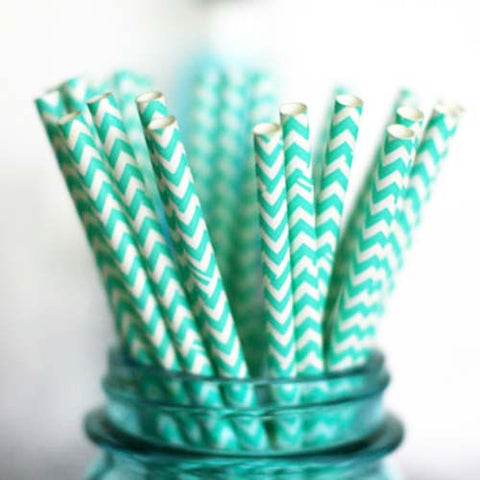 Pack of 25 Chevron Aqua Green/White Party Straws