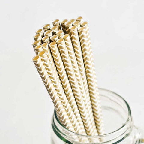 Pack of 25 Chevron Gold Party Straws