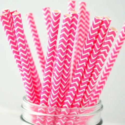 Pack of 25 Chevron Hot Pink/White Party Straws