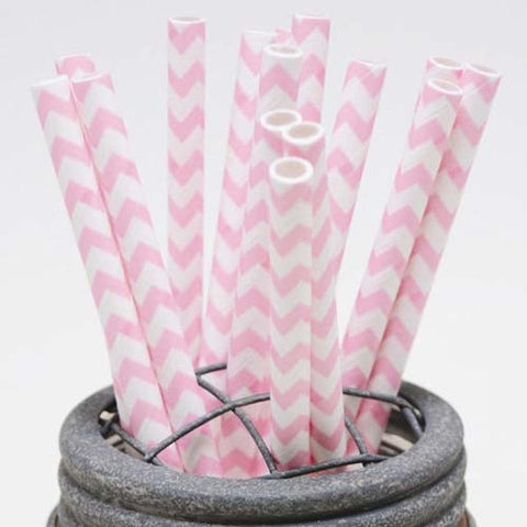 Pack of 25 Chevron Light Pink/White Party Straws