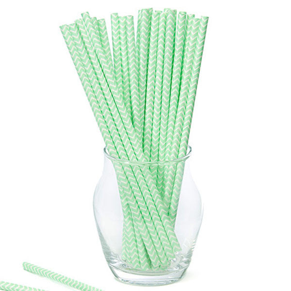 Pack of 25 Chevron Mint Green/White Party Straws