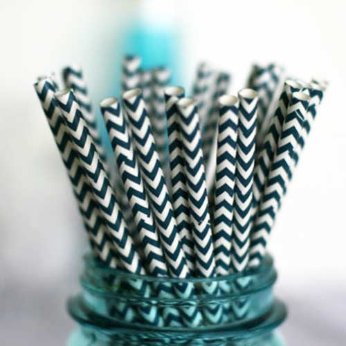 Pack of 25 Chevron Navy Blue/White Party Straws