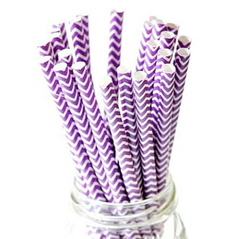 Pack of 25 Chevron Purple/White Party Straws